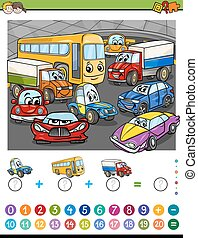 maths algebra activity - Cartoon Illustration of Educational...
