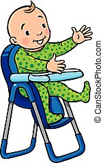 Funny smiling baby in the highchair - Children vector...