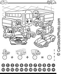 maths activity coloring page - Black and White Cartoon...