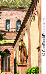View of the Basel Minster Cathedral in Switzerland