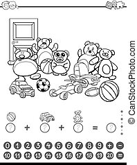 maths activity for coloring - Black and White Cartoon...