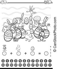 maths task coloring book - Black and White Cartoon...