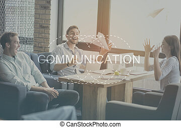 Modern communication concept - Be social Inspirational...