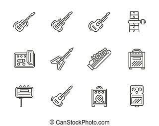 Guitars black line vector icons set - Electric and acoustic...
