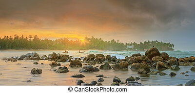 Romantic untouched tropical beach on sunset, Sri Lanka