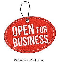 Open for business label or price tag - Open for business red...