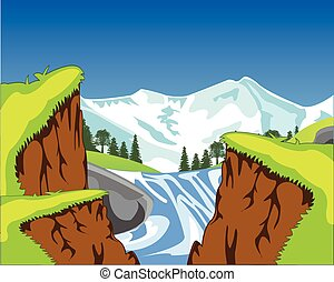 Waterfall in canyon - Vector illustration of the canyon and...