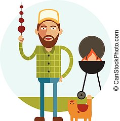 Barbecue and man with cat