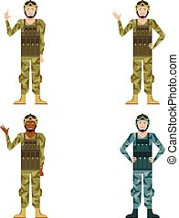 Set of Mylitary men - Vector image of the Set of Mylitary...
