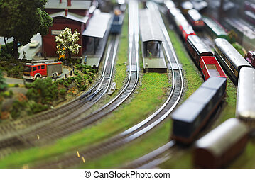 City in miniature Model of train on railstation