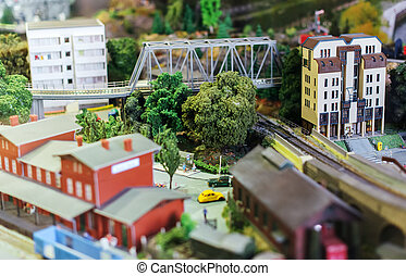 City in miniature Houses, cars, trees
