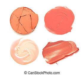 different of color make up, lipstick, gloss and eyeshadow isolate.