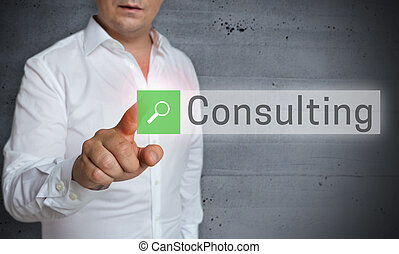 Consulting browser is operated by man concept.