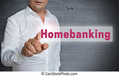 home banking touchscreen is operated by man.