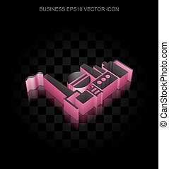 Business icon: Crimson 3d Oil And Gas Indusry made of paper, transparent shadow, EPS 10 vector.