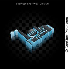 Finance icon: Blue 3d Oil And Gas Indusry made of paper, transparent shadow, EPS 10 vector.