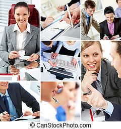 Business moments - Collage with businesspeople and teamwork...