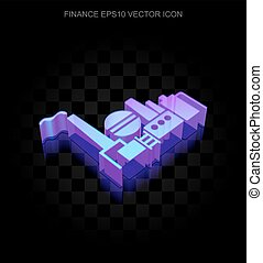 Business icon: 3d neon glowing Oil And Gas Indusry made of glass, EPS 10 vector.