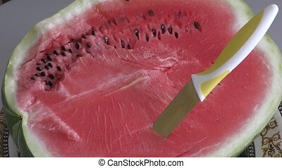 Ripe watermelon is served for dessert - Ripe and juicy...