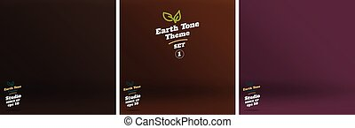 Vector,set of Empty earth tone brown color lighting studio room background ,Template mock up for display or montage of product,Business backdrop