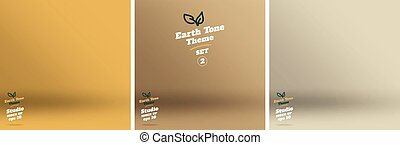 Vector,set of Empty earth tone yellow color lighting studio room background ,Template mock up for display or montage of product,Business backdrop