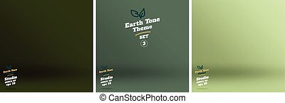 Vector,set of Empty earth tone green color lighting studio room background ,Template mock up for display or montage of product,Business backdrop