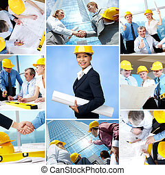 Architects - Collage of business teams and leader working in...
