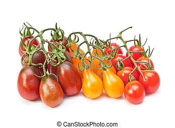 Branch varicolored cherry tomatoes isolated on white