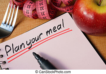 plan your meal - Diary with a record plan your meal on a...