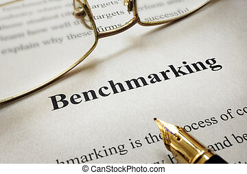 Benchmarking - Page of paper with words Benchmarking and...