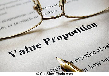 Value Proposition - Page of paper with words Value...