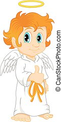 Little boy Dressed as an Angel - vector illustration of...