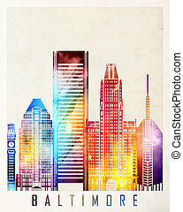 Baltimore landmarks watercolor poster