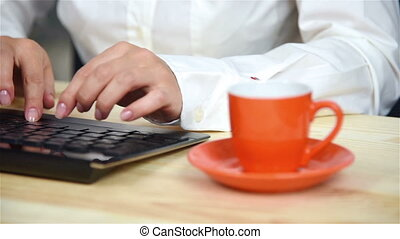 Businesswoman Typing On Keyboard - Businesswoman Typing On...