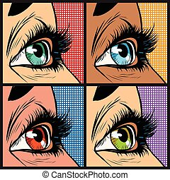 Seth colored eyes, women of many nationalities pop art retro...