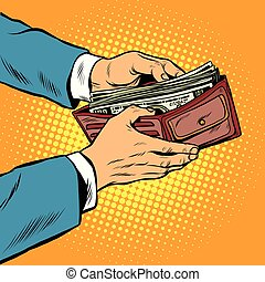 Wallet with cash money, business and Finance