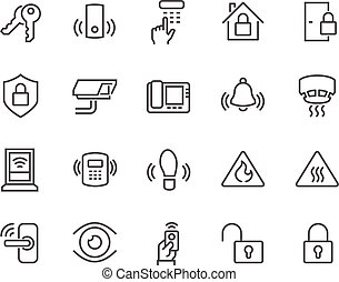 Line Home Security Icons - Simple Set of Home Security...