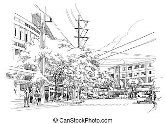 drawing of city street