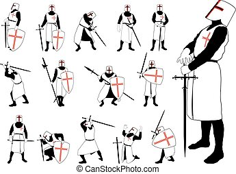 Knight in different poses - Medieval knight in armor and...