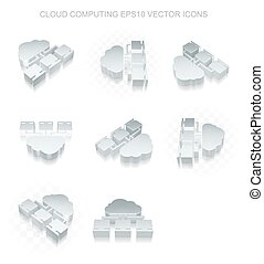 Cloud computing icons set: different views of metallic Cloud...
