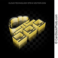 Cloud networking icon: Yellow 3d Cloud Network made of...