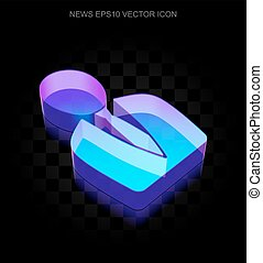 News icon: 3d neon glowing Business Man made of glass, EPS...