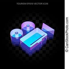 Vacation icon: 3d neon glowing Camera made of glass, EPS 10...