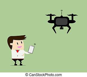 Drone take a businessman everywhere