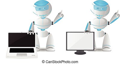 Robot character with laptop and TV
