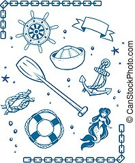 Sea and nautical symbols set of vector illustration vingage...