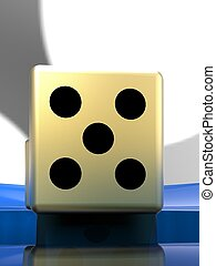 Golden dice on plate 3d illustration - Golden dice on the...