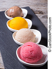 Different flavours of sorbetto balls ice cream