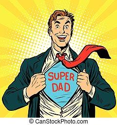 Super dad hero with a joyful smile pop art retro vector...