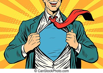Super hero male businessman
